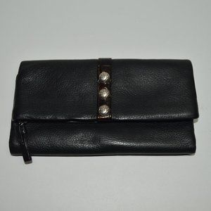 Brighton Black Soft Pebbled Leather Flap Wallet